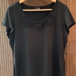 Black Top with Crochet Embellishment
